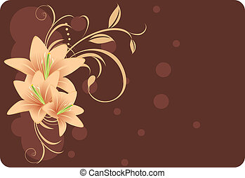 Lilies with ornament. Decorative background. Vector...