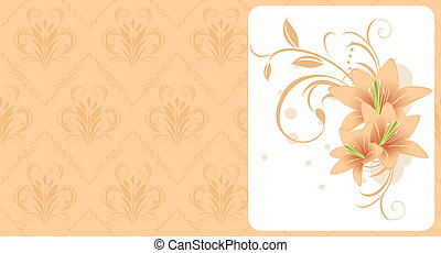 Lilies with ornament. Card