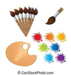 paint brushes with wooden palette and paint vector...