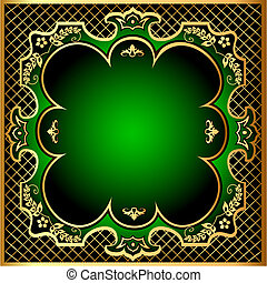 green background frame with gold(en) pattern m net
