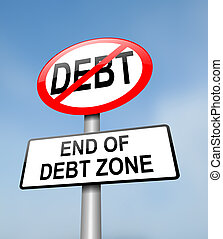 Debt free zone - Illustration depicting a red and white road...