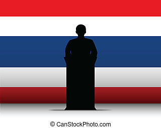 Thailand Speech Tribune Silhouette with Flag Background