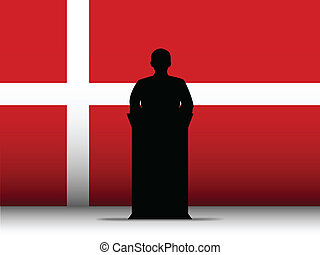 Denmark Speech Tribune Silhouette with Flag Background -...