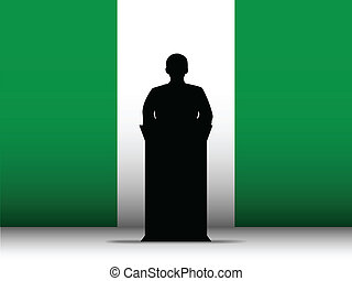 Nigeria Speech Tribune Silhouette with Flag Background