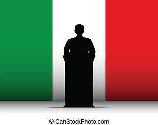 Italy Speech Tribune Silhouette with Flag Background -...