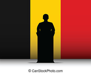 Belgium Speech Tribune Silhouette with Flag Background -...