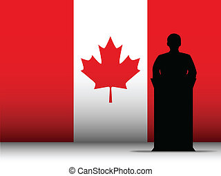 Canada Speech Tribune Silhouette with Flag Background -...