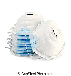 Respirators - A stack of white with blue detail disposable...