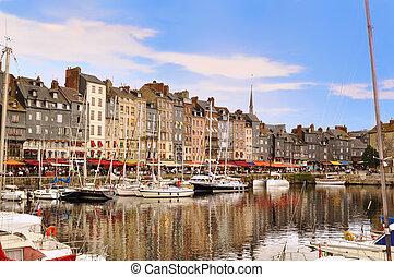 a, bonito, antigas, porto, Honfleur, Normandy, França