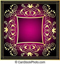 violet background frame with gold(en) pattern