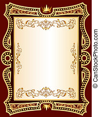 brown background frame with gold(en) pattern