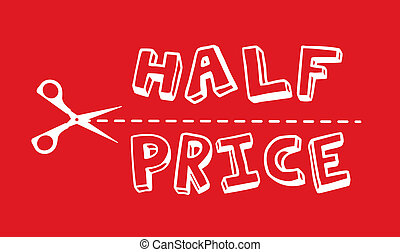 half price with silhouette scissor over red background....