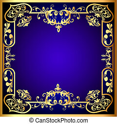 blue frame with vegetable golden pattern - illustration blue...