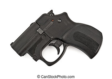 Traumatic gun - Black traumatic gun isolated on white...