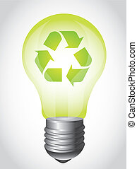 light bulb - green light bulb with recycle sign over gray...