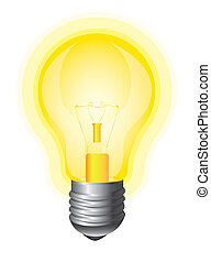 yellow bulb isolated over white background vector...