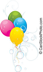 Colorful balloons with ornament - Colorful balloons with...