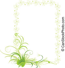 Birch leaves in the frame - Birch leaves with floral...