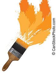 brush paint - brush with orange paint over white background....