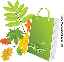 Package on the leafy background