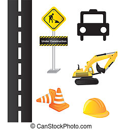 elements of construction over white background. vector
