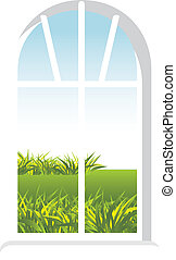 Window with a kind in garden