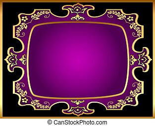 black background with violet frame with gold(en) pattern