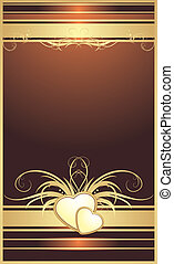 Golden hearts with floral ornament. Background for card....