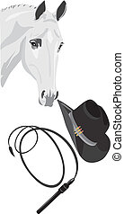 Cowboy hat, whip and horse head. Vector illustration