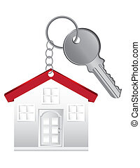 key chain with house and key isolated over white background....