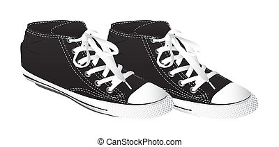 black sneakers isolated over white background vector...