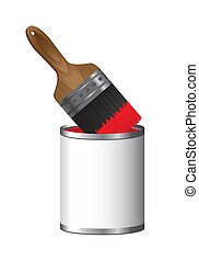 brush paint with paint bottle isolated over white background...