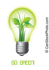 go green - ecology light bulb with leaves, go green. vector...