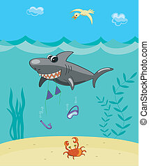 Shark attack - Comic vector illustration. The big cartoon...