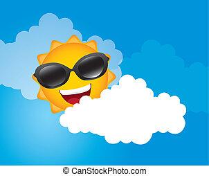 sun with sunglasses