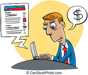 Business Blogger - A cartoon businessman updating his...