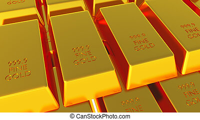 Gold Bars Isolated on white 03