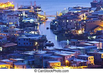 Tai O fishing village at night in Hong Kong