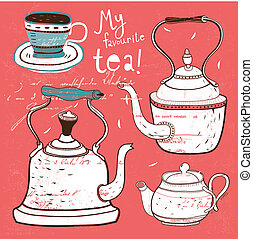 teatime - vector vintage background, wallpaper