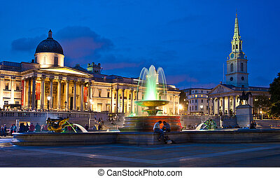 Trafalgar Square at Night - Time exposure of illuminated...