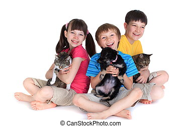 Children with pets - Three children holding pets isolated on...