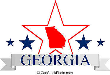 Georgia star - Georgia state map, star and name.