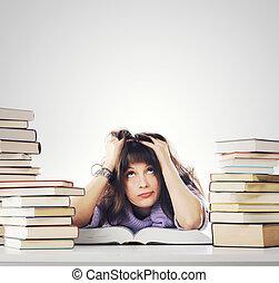 cansado, estudios, joven, mujer, Sentado, ella, escritorio,...