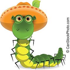 caterpillar in the hat - illustration of a green caterpillar...