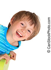 Happy young boy - Portrait of happy young boy leaning over...