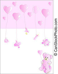 Baby card for girls - Teddy bear, toys and ballons in pink