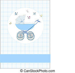 Babycard for boys - Toddler in blue and butterfly