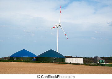 Biogas Plant With Wind Turbine - Different fermenters of a...
