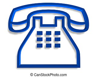 Telephone symbol - Blue telephone symbol over white...