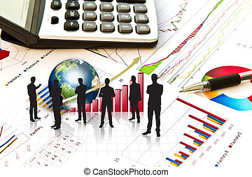 Silhouettes of business and business graph with earth (Elements of this image furnished by NASA)